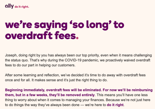 Ally Bank Overdraft Fee Removal