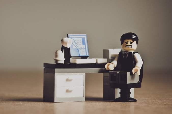 Nervous Lego Businessman