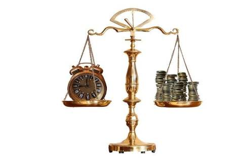 Scales with Coins and Clock