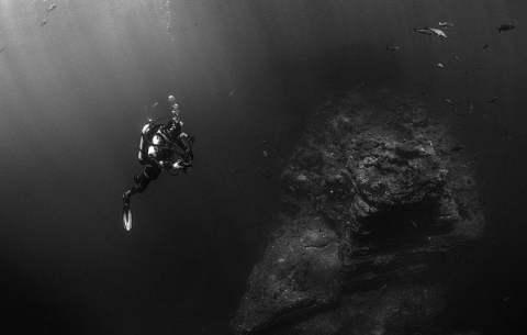Scuba Diver and Rocks