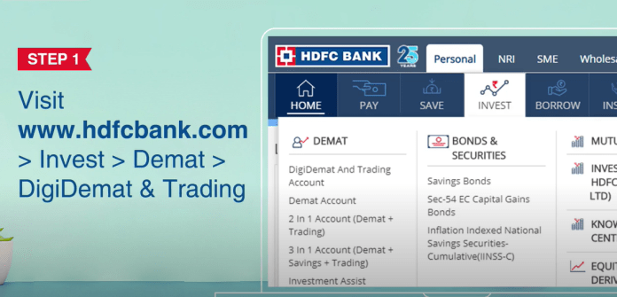 Demat Account with HDFC Bank Step-1