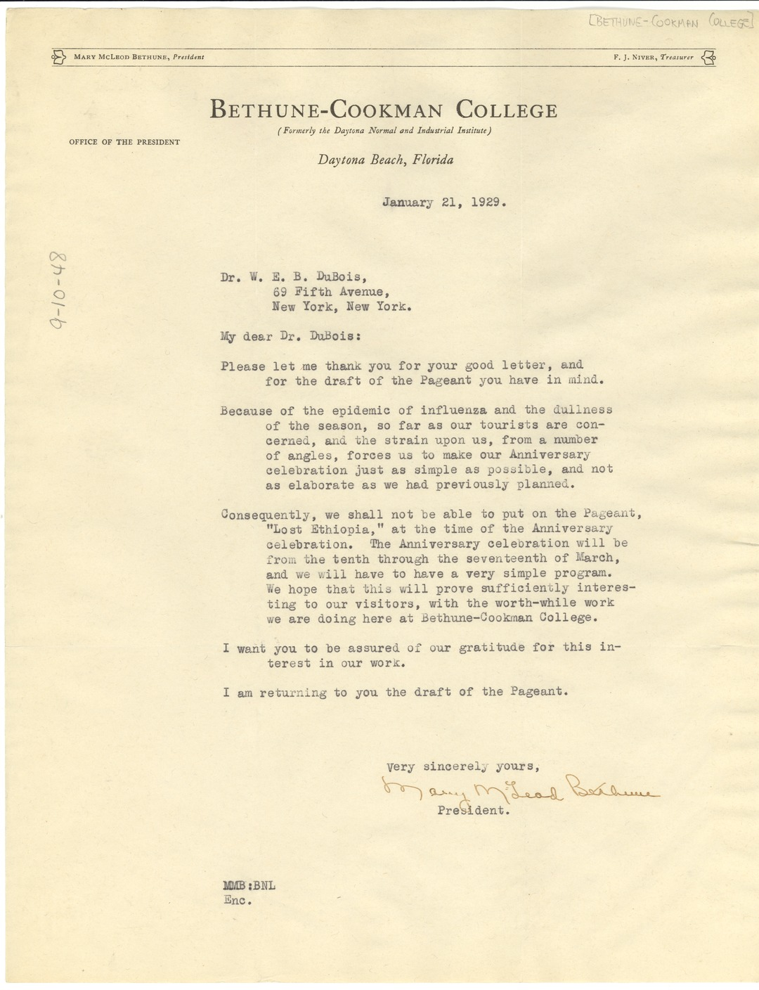 Letter From Mary Mcleod Bethune To W E B Du Bois