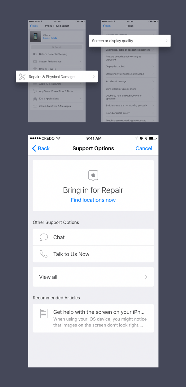 Use the hardware support feature in Apple's Support app