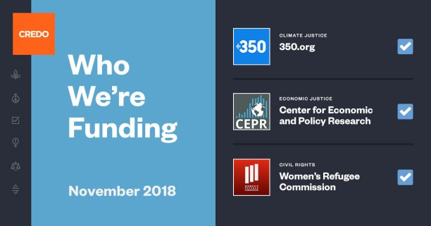 """An image with the words """"Who We're Funding"""" on the left over a blue background, with a ballot of three organizations on the right including 350.org, Center for Economic and Policy Research and the Women's Refugee Commission."""