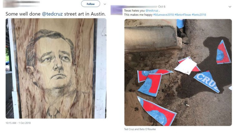 Social media reaction posts to Ted Cruz poster campaigns