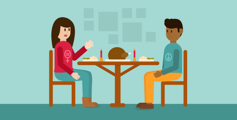 Illustration of a man and woman sitting down at a Thanksgiving dinner table
