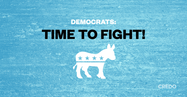 """A blue background with white and black text that says, """"Democrats: Time to Fight!"""" and the democrat donkey symbol below."""
