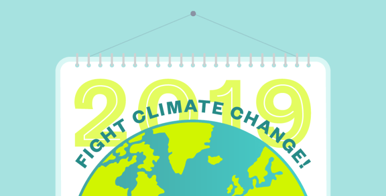 """Illustration of the Earth with """"Fight Climate Change"""" written around it and 2019 calendar in the background"""