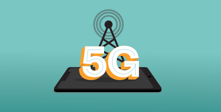 Illustration of a cell phone with a wireless tower and 5G written on it