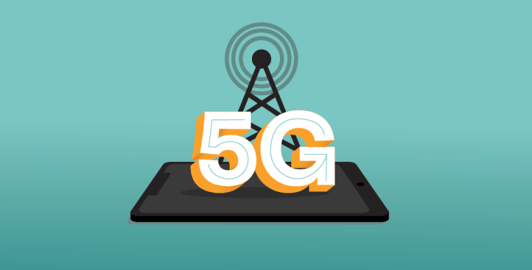 Illustration of a cell phone with a wireless signal and 5G written over it