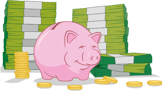 Piggy bank and cash graphic