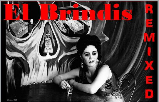 Photo:  [advertising exhibition]  Black & White photo of latina woman in a sleeveless dress, sitting with her elbows on a table, holding a shot glass.  The wall in the background painted with religious art.