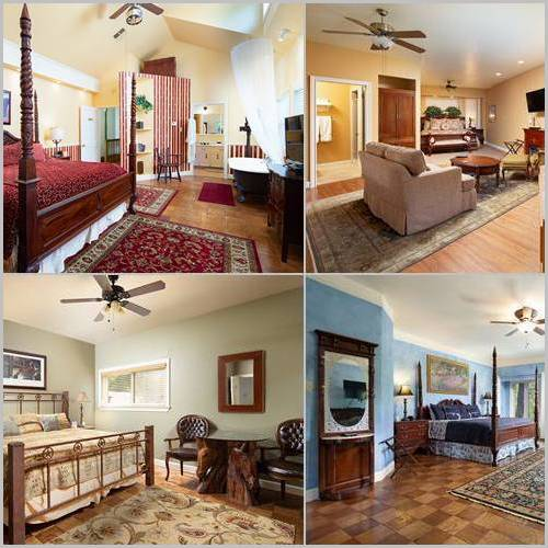 4 image collage of beds in main house
