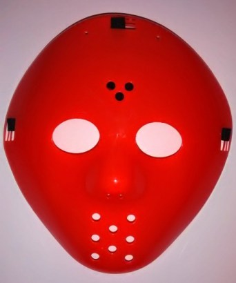 orange goalie mask