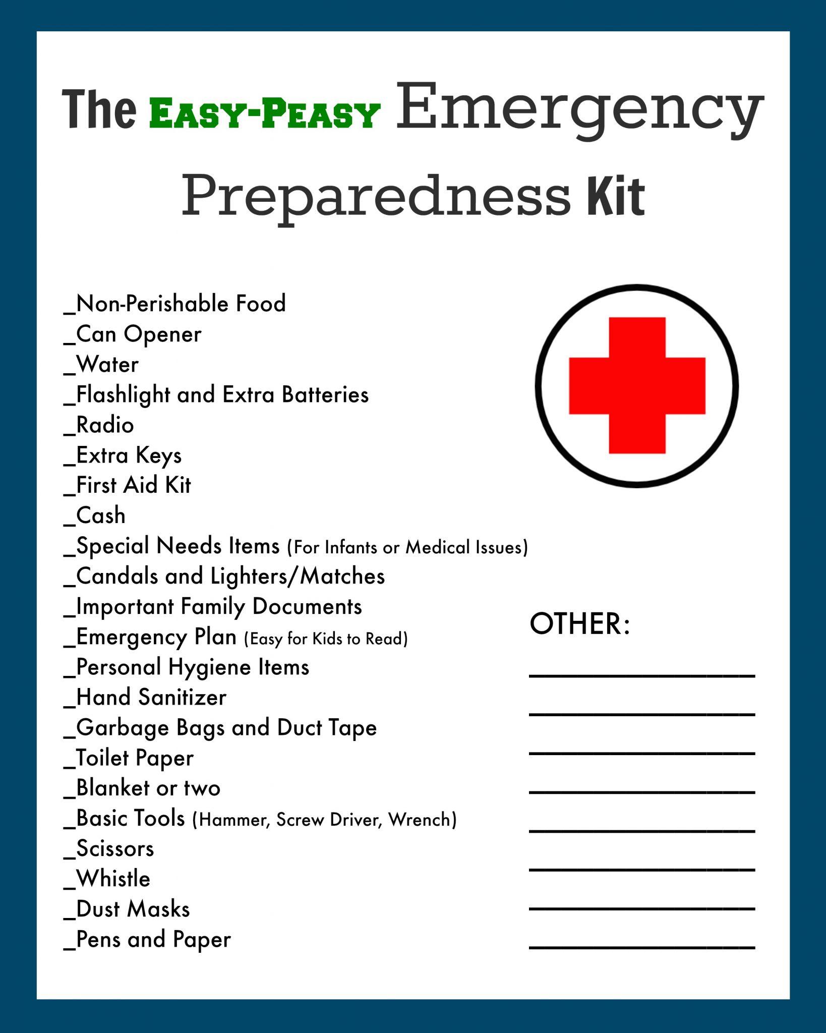 Emergency Evacuation Preparedness Kit Free Printable Checklist