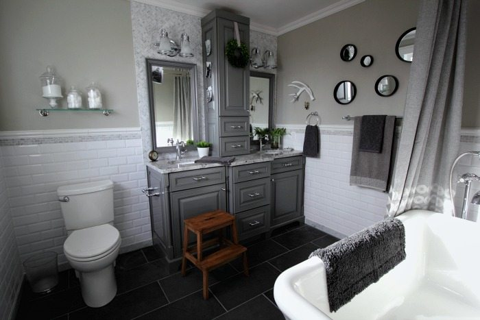 Before And After: Grey And White Traditional Bathroom
