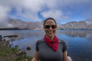 Amanda at the caldera lake.