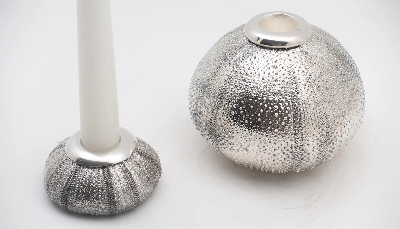 silver plated sea urchin candleholder