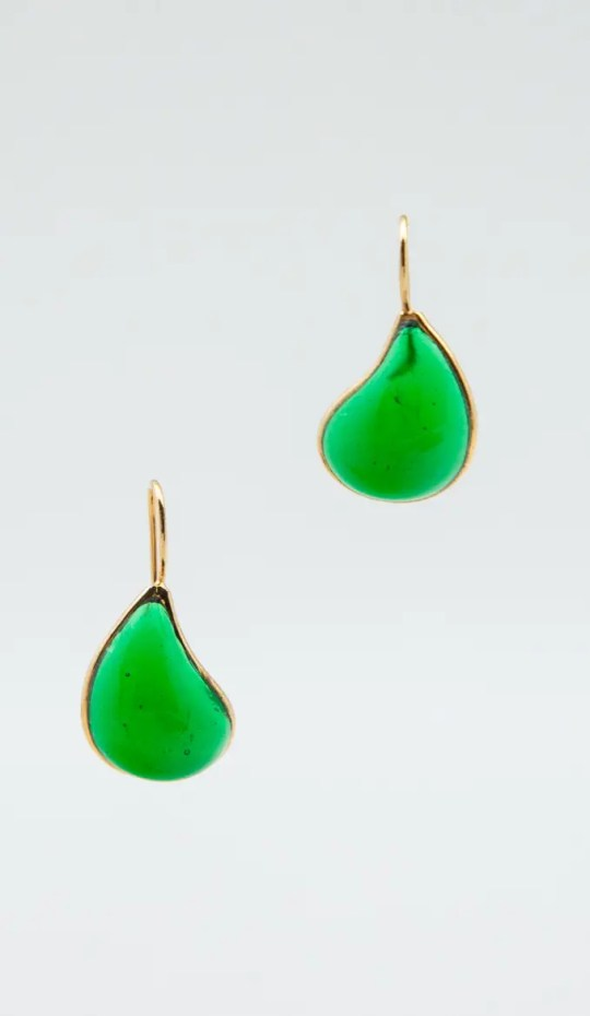 Green-teardrop-earrings-gold-hook