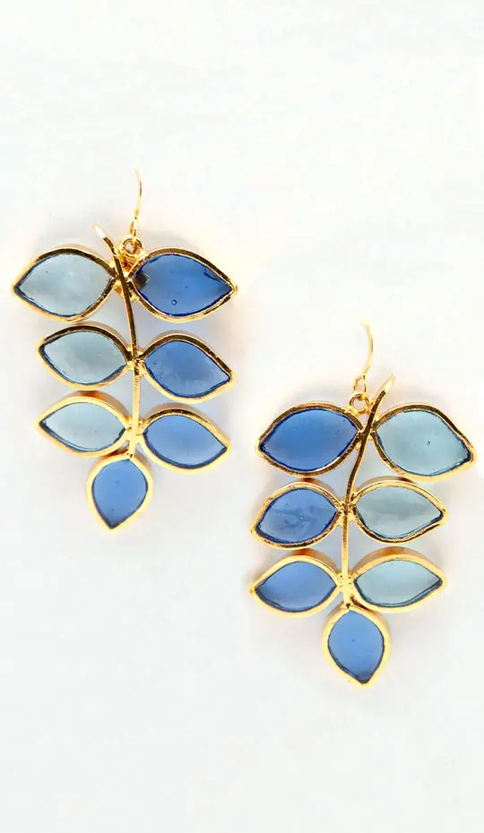 Blue Leaf Gold Hook Earring