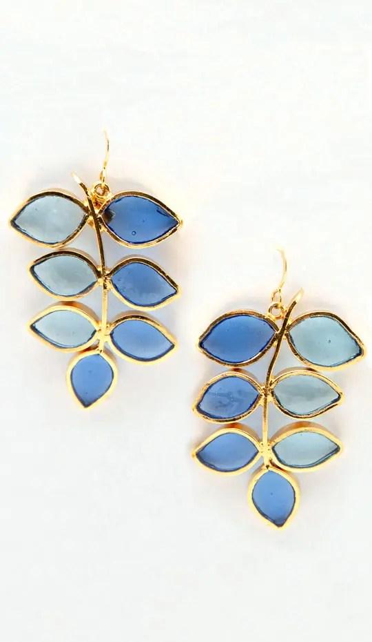 Blue Leaf Gold Hook Earring