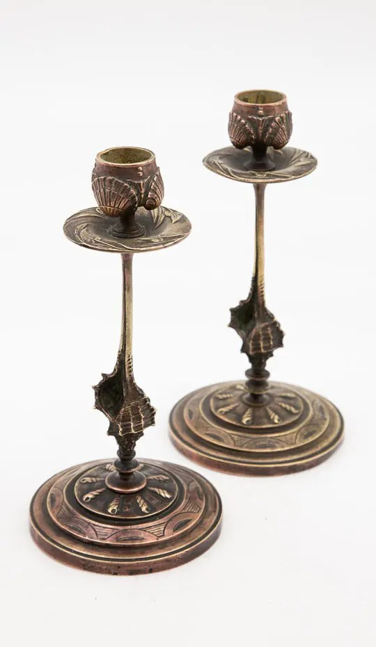 Aesthetic naturalistic seashell candlesticks
