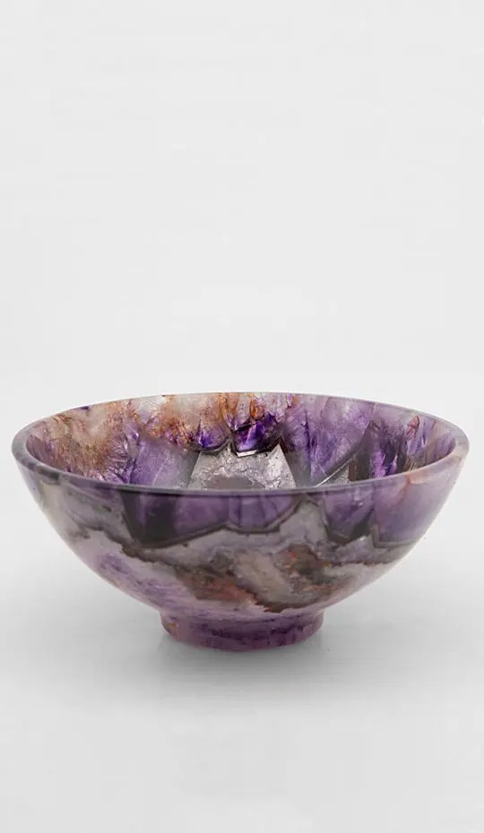 Dark Amethyst Bowl, handmade and contains bits of emerald green and amber
