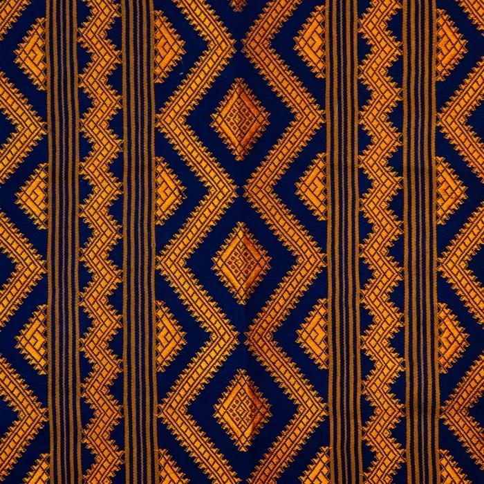 Large Rectangular Textile with Orange and Purple. Diamond and zig-zag Shapes