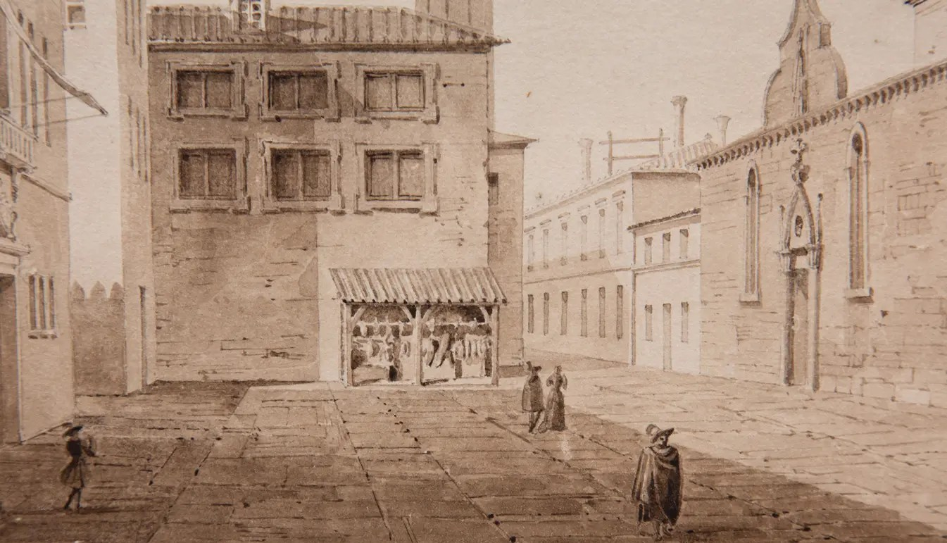 Monochrome Watercolor of Venice. Pictured are Buildings with nondescript people walking between.