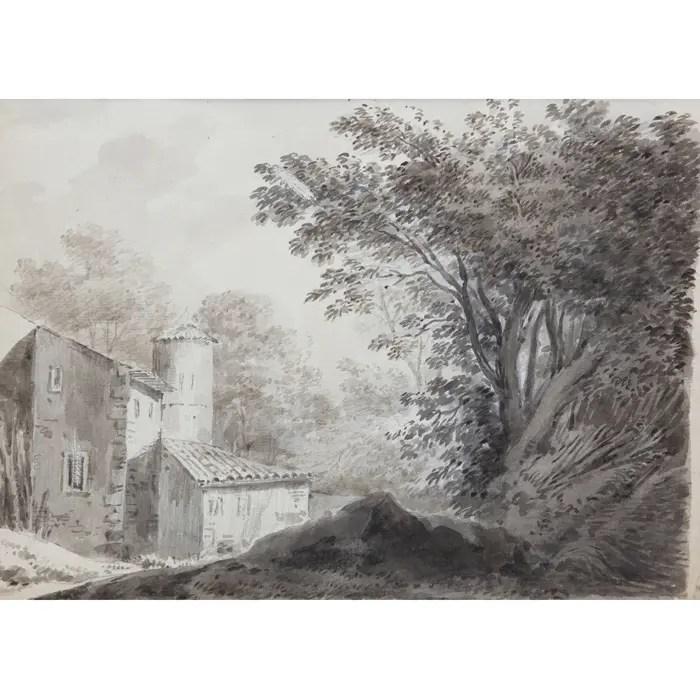 18th century Watercolor of Constantin d'Aix representing a barn