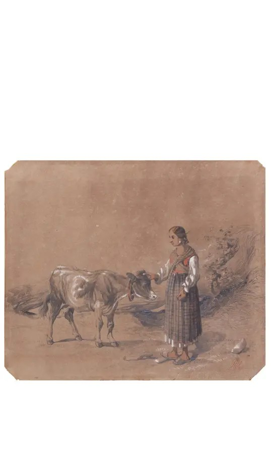 Small picture of an a Antonie Sminck Pitloo Drawing of Young Woman with Cow