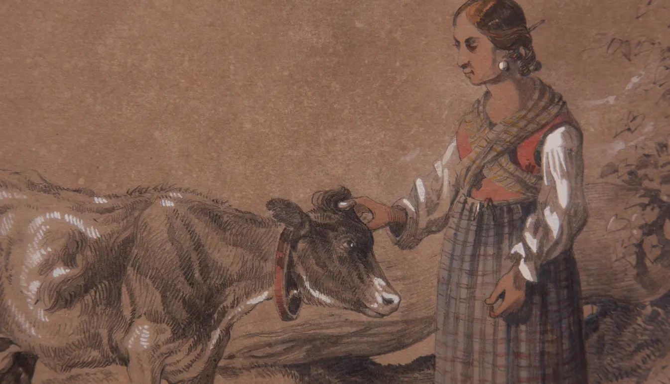 Zoom on a Antonie Sminck Pitloo Drawing of Young Woman with Cow