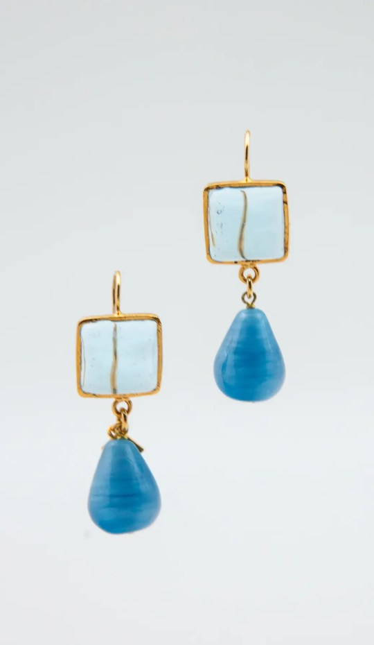 light blue and sky blue with gold hook earring