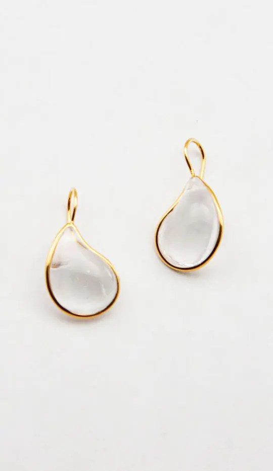 Clear-gold-teardrop-earring