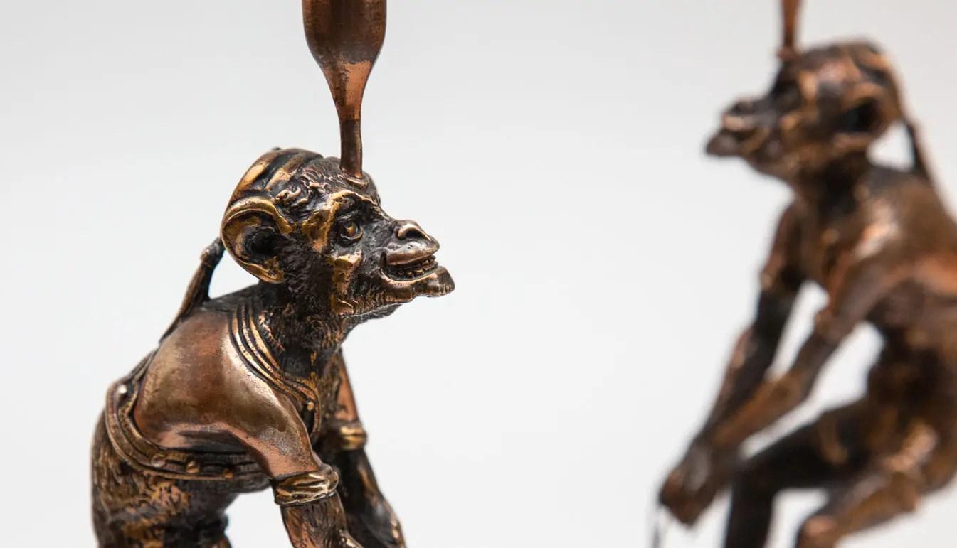 monkey-candlesticks- with-buckets-bronze
