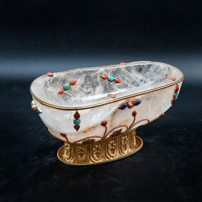 Rock Crystal Carved Footed Bowl with Turquoise and Coral. Rock crystal carved bowl with applied stones of coral, turquoise, and lapis lazuli set in gilt metal.