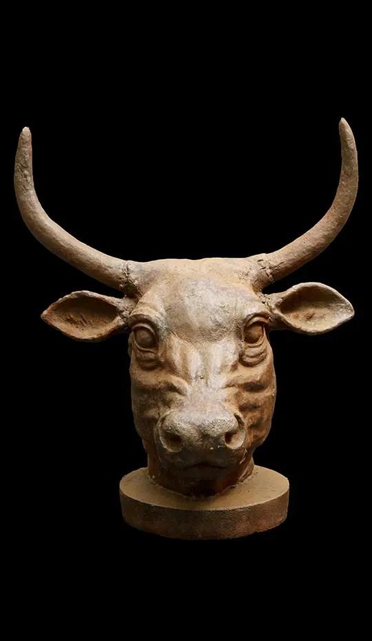 Iron Bulls Head Sculpture