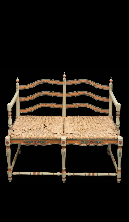 Vintage Beautifully Painted Country Settee W/ Rush Seat