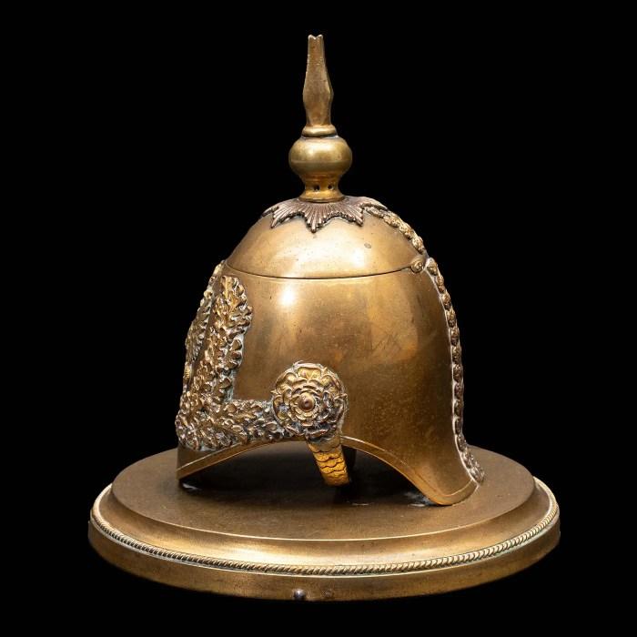 Grand Tour Brass Helmet Inkwell