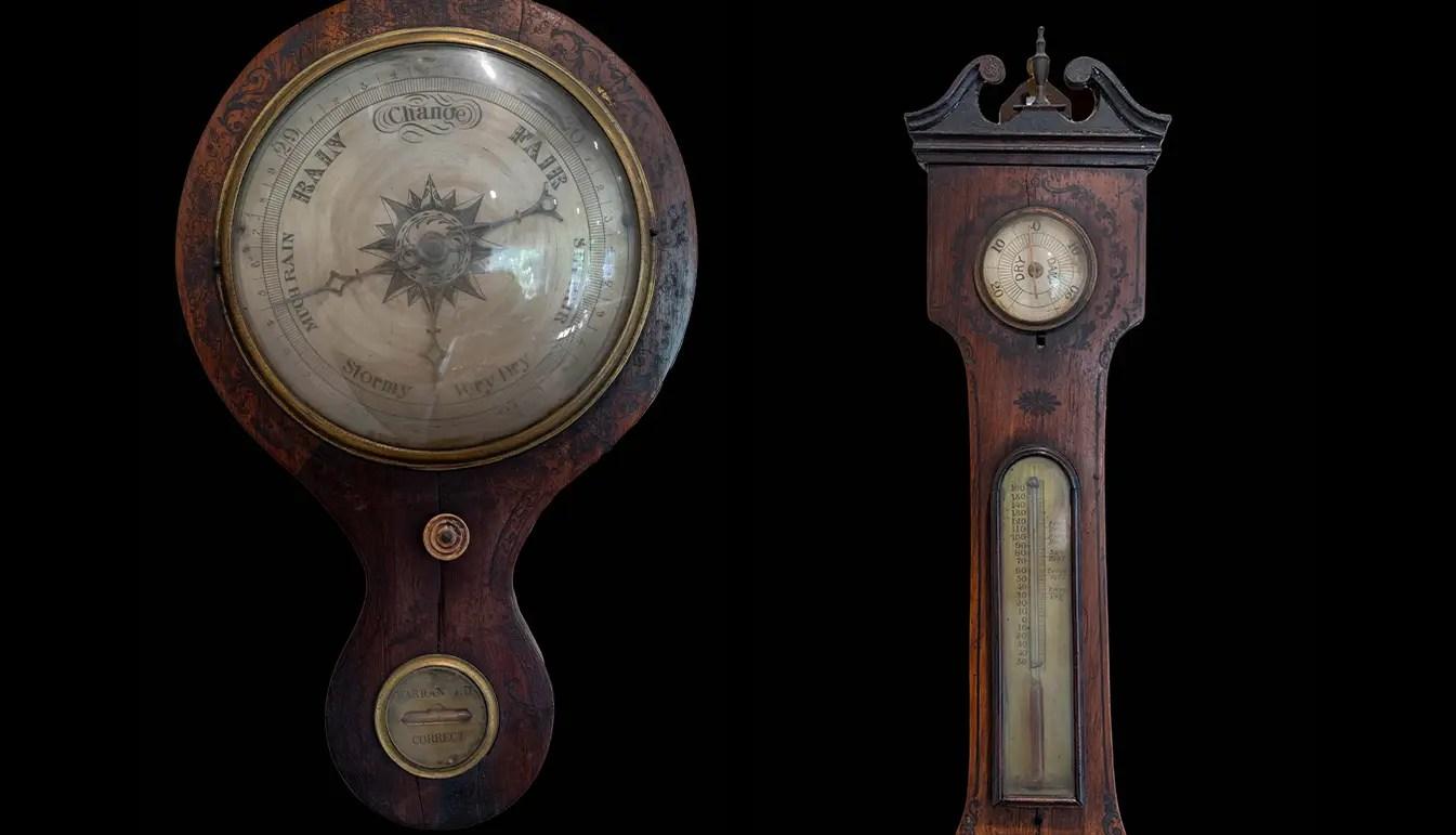 Regency English Black Painted Rosewood Banjo Barometer Circa 1800