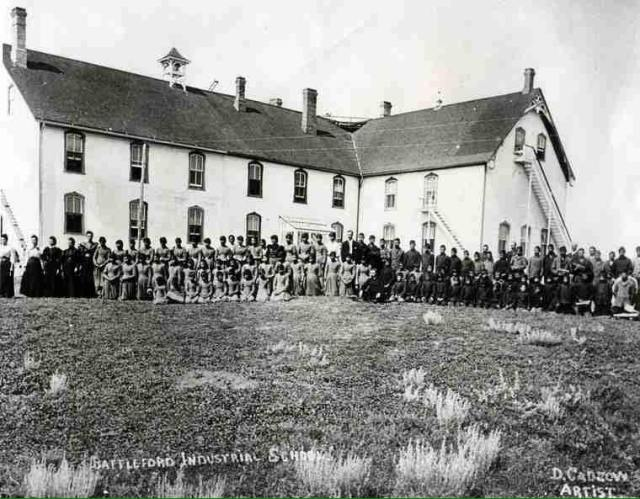 Battleford Industrial School 1885 - Students assembled to watch hanging