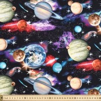 IN SPACE PLANETS BLACK, 112CM