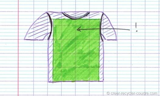 Zone du tee-shirt a découper_couture débardeur facile