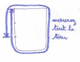 mesurez tout le tour du côté  pour connaitre la longueur du pan de toile devant et derrière pour le tuto sac pour petite fille