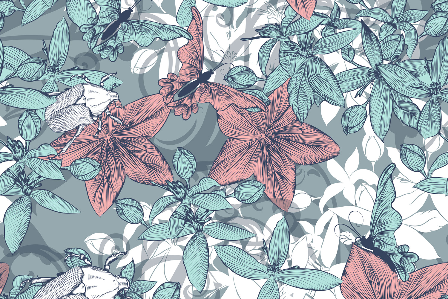Beautiful Vector Wallpaper Pattern In Vintage Floral Style Crella