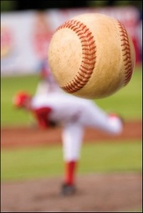 baseball being pitched