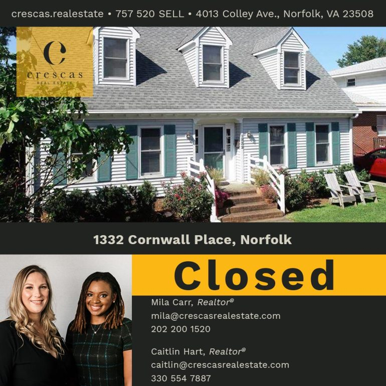 1332 Cornwall Place Norfolk - Closed
