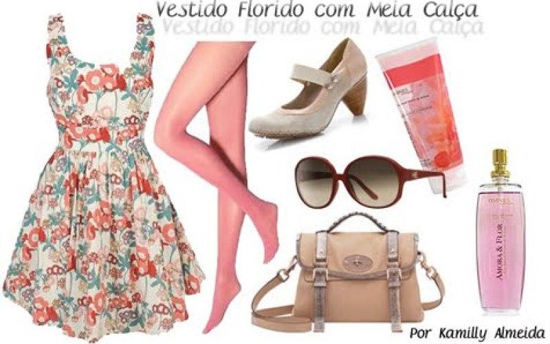 Vestido Floral com meia Calça - Meia Calça com Vestido Floral - Meia Calça + Vestido - Vestidos Florais