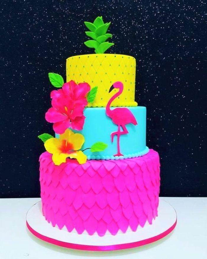 festa tropical flamingo bolo
