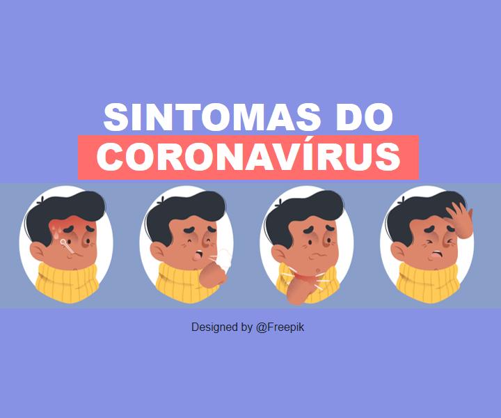 imagem ilustração mostrando os principais sintomas do coronavírus: febre, falta de ar,